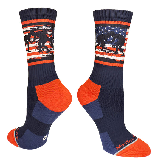 USA Flag Fighting Wrestlers Crew Socks (Navy/Red/White, Large) - Navy/Red/White,Large