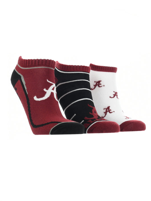 Alabama Crimson Tide No Show Socks Full Field 3 Pack (Crimson/Black/White, Medium)