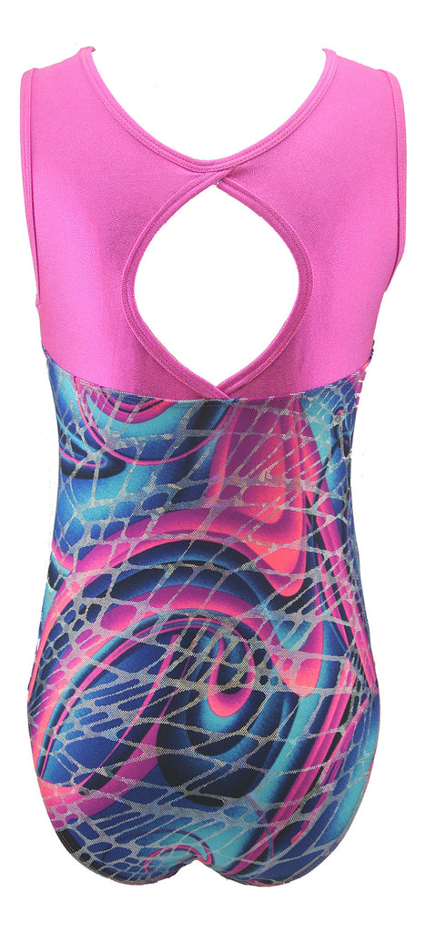 Keyhole Style Abstract Swirl Girls Gymnastics Leotard