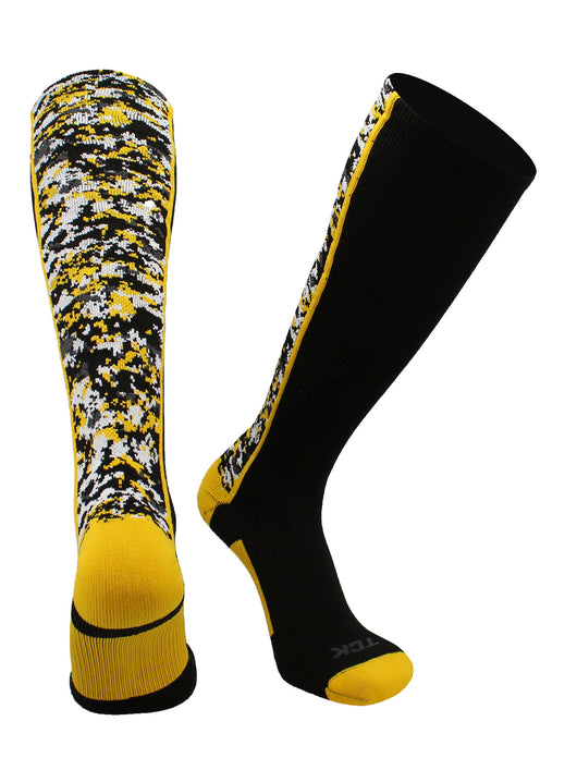 Digital Camo OTC Socks (Black/Gold, Large)
