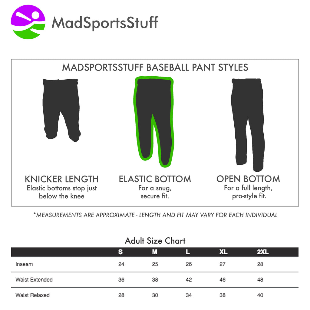 Mens Baseball Pants Elastic Bottom Adult Basic Line
