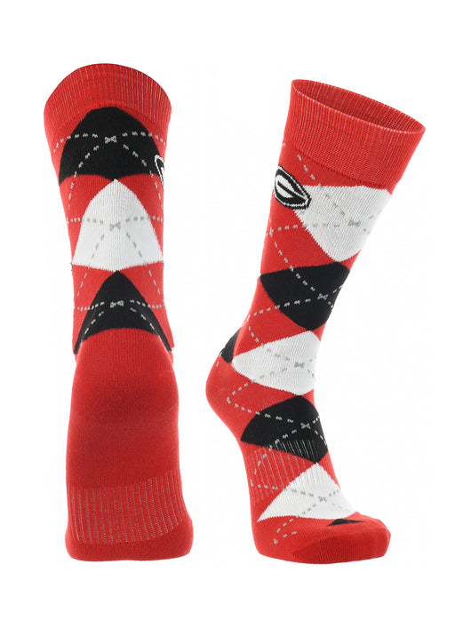 Georgia Bulldogs Argyle Dress Socks (Red/Black/White, Large)