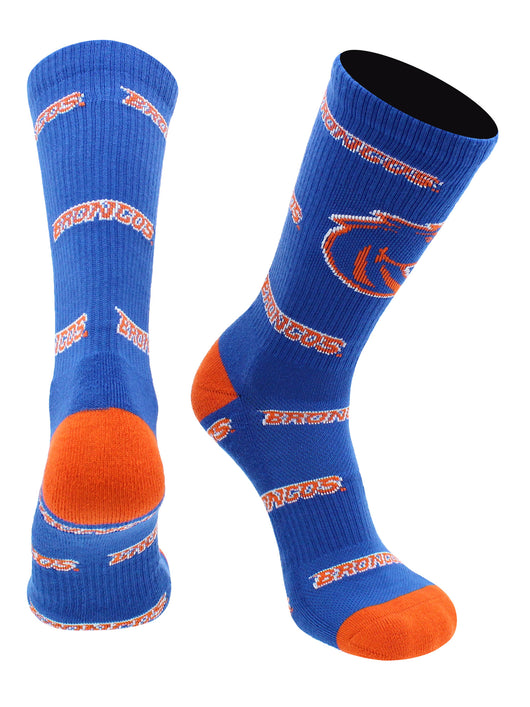 Boise State Broncos Socks Mayhem Crew Socks (Blue/Orange, Large) - Blue/Orange,Large
