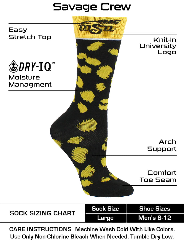 Wichita State Shockers Socks Womens Savage Crew Socks