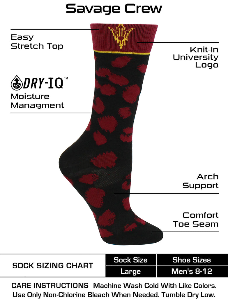 ASU Sun Devils Socks Womens Savage Crew Socks