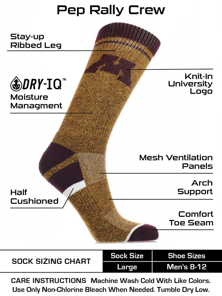 Minnesota Golden Gophers Socks Victory Parade Crew Length