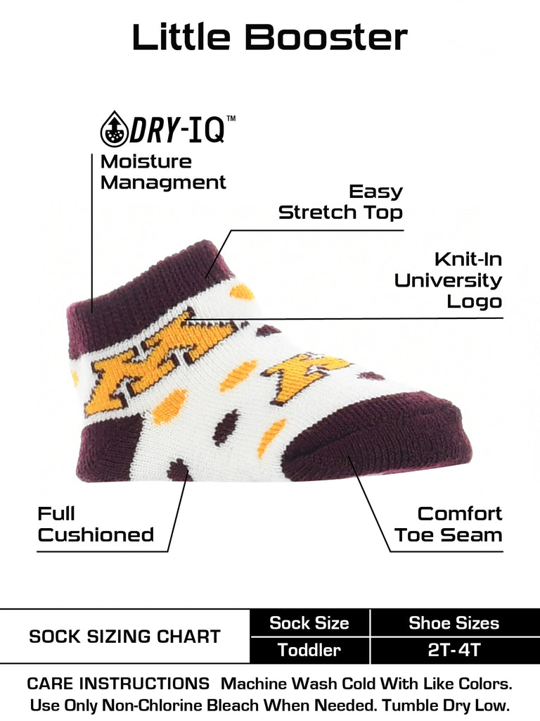 Minnesota Golden Gophers Toddler Socks Low Cut Little Fan