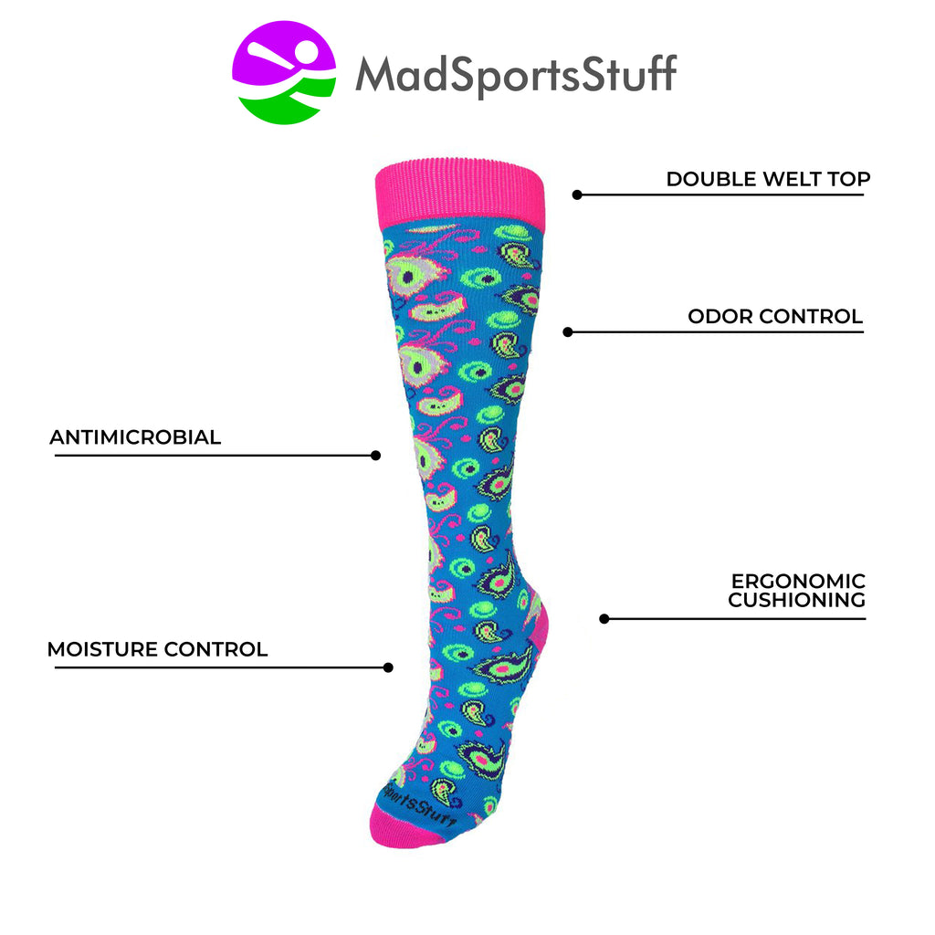 Peacock Paisley Over the Calf Athletic Socks MadSportsStuff 1