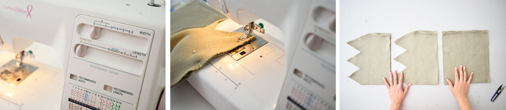 Sew garment centre back seams together