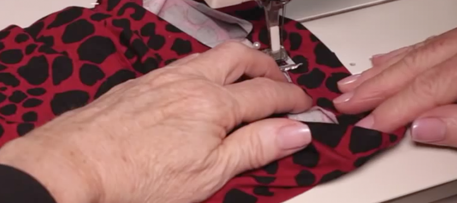 Stitching the hem up