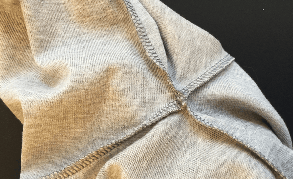 underarm stitching of hooded jumper