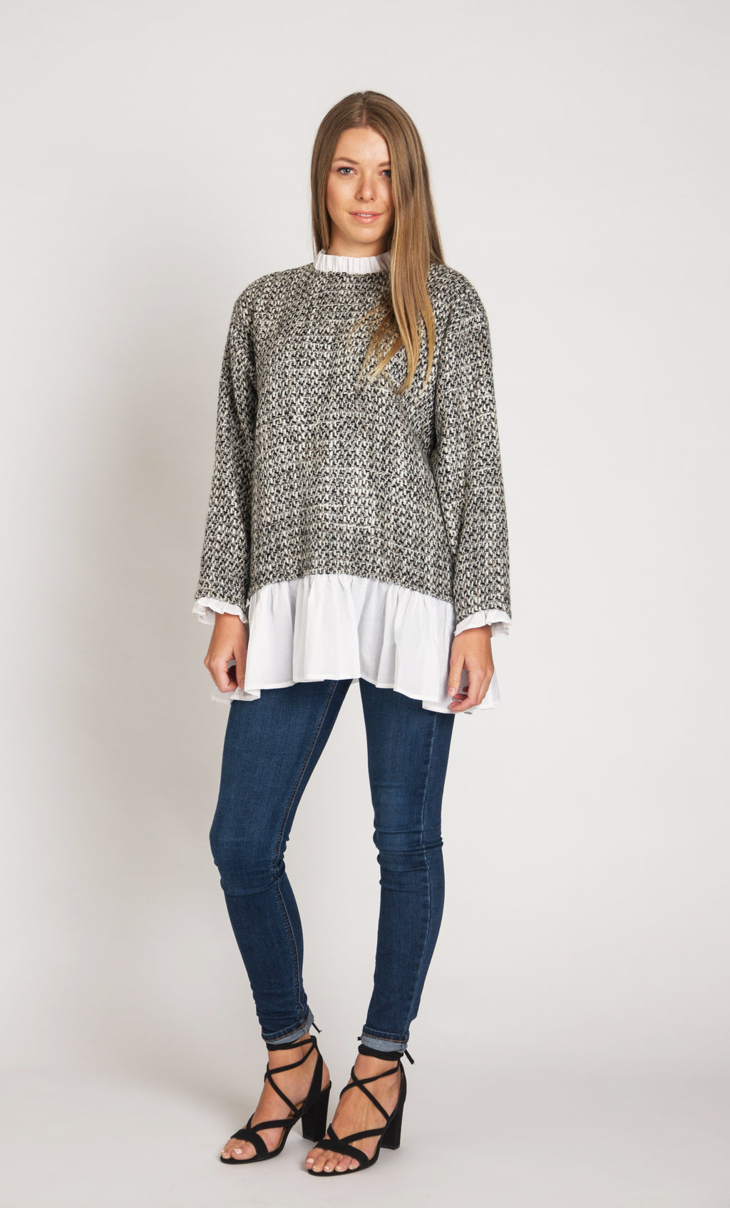 Woven Top with Sleeve and Hem Flounce