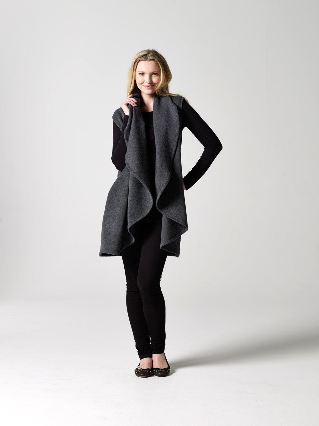 Sleeveless Draped Coat