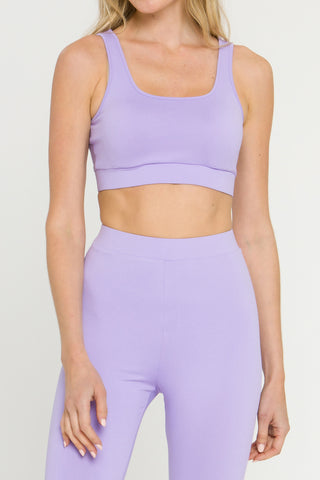 Lavender color soft fabric work out bra top from Marsy