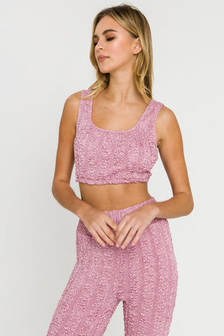Mauve color textured tank top and matching pants from endless rose
