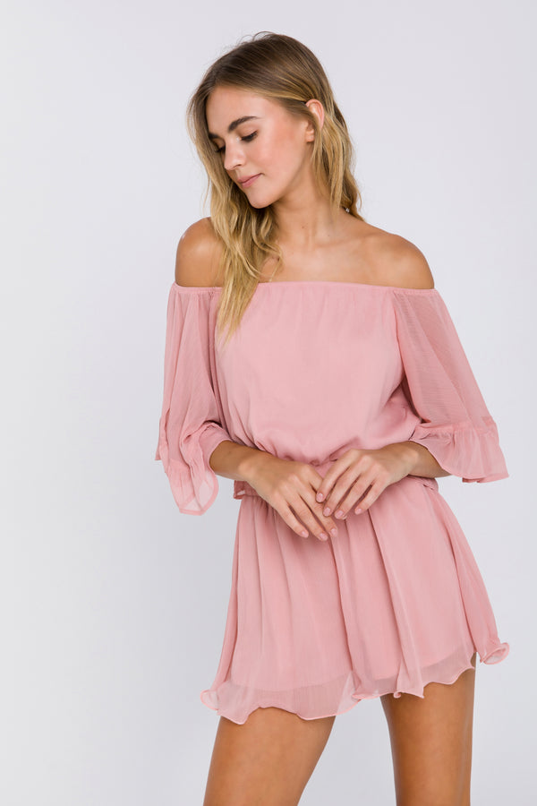 ENDLESS ROSE-Endless Rose Ruffled Sleeve Romper-ROMPERS available at Objectrare