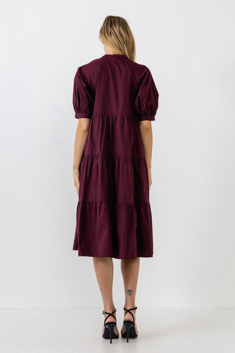 ENGLISH FACTORY-Short Puff Sleeve Dress-DRESSES available at Objectrare