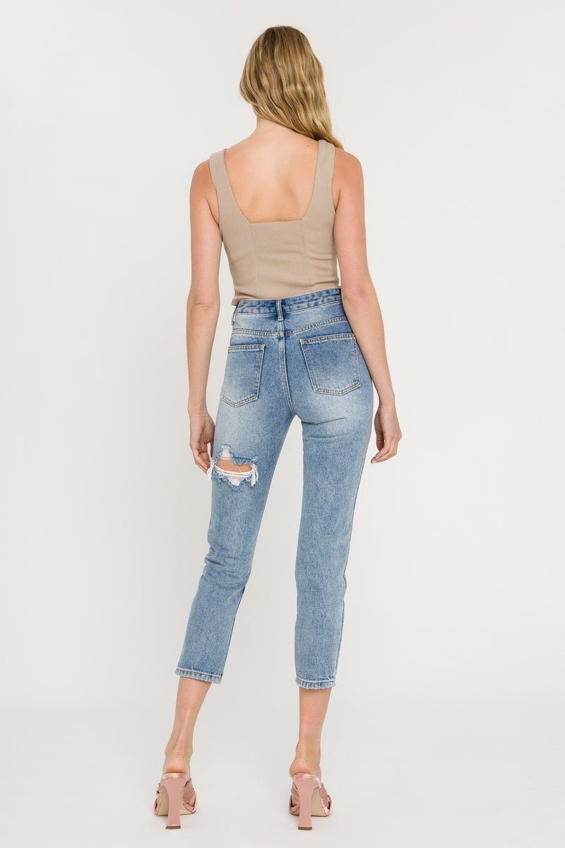 ENGLISH FACTORY-Distressed Mom Jeans-JEANS available at Objectrare