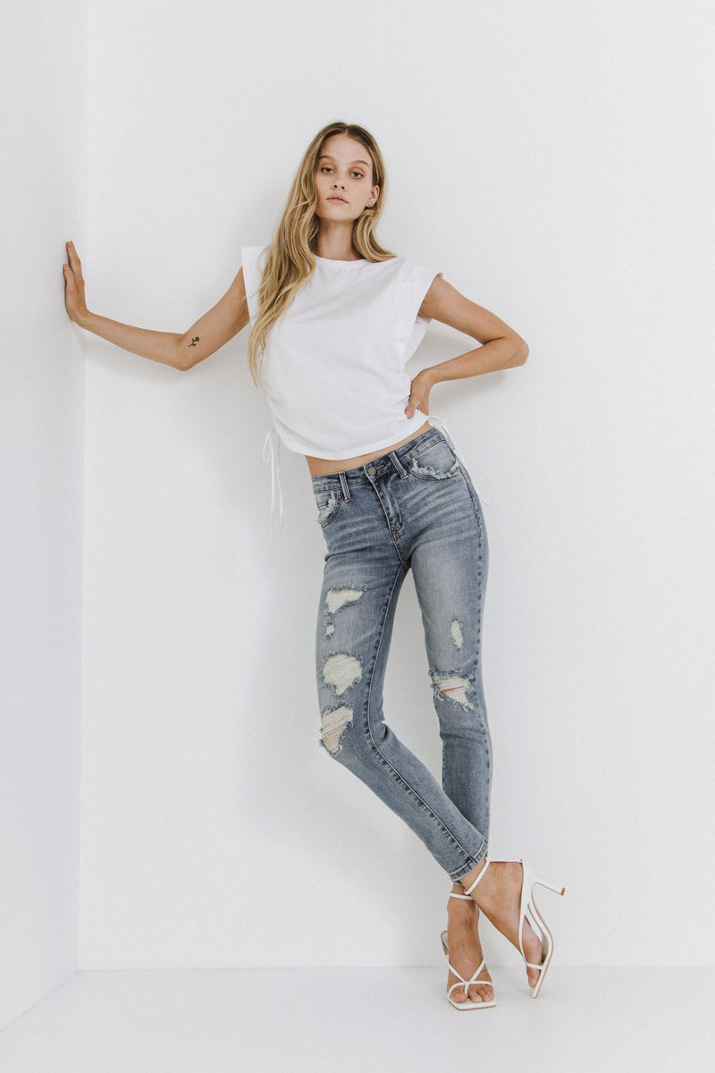 ENGLISH FACTORY-Distressed Ankle Skinny Jeans-JEANS available at Objectrare