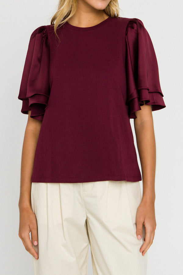 ENGLISH FACTORY-Chiffon Ruffle Sleeve T-shirt-T-SHIRTS available at Objectrare