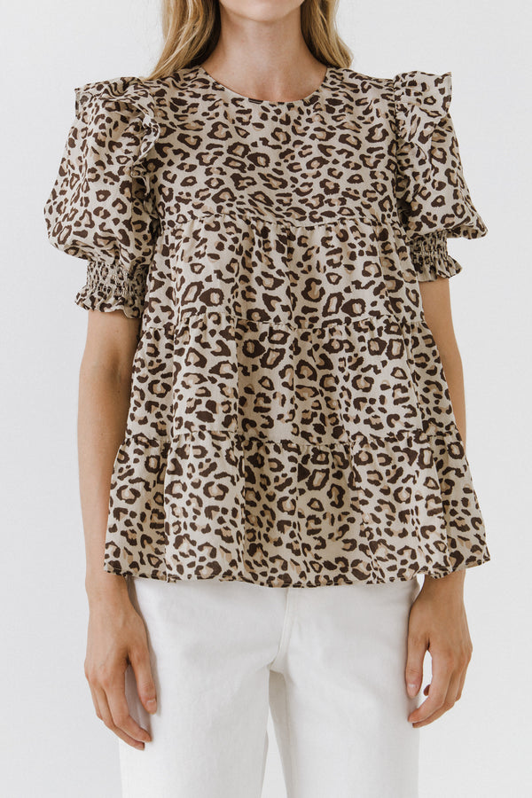 LA'VEN-Animal Print Tiered Blouse-SHIRTS & BLOUSES available at Objectrare