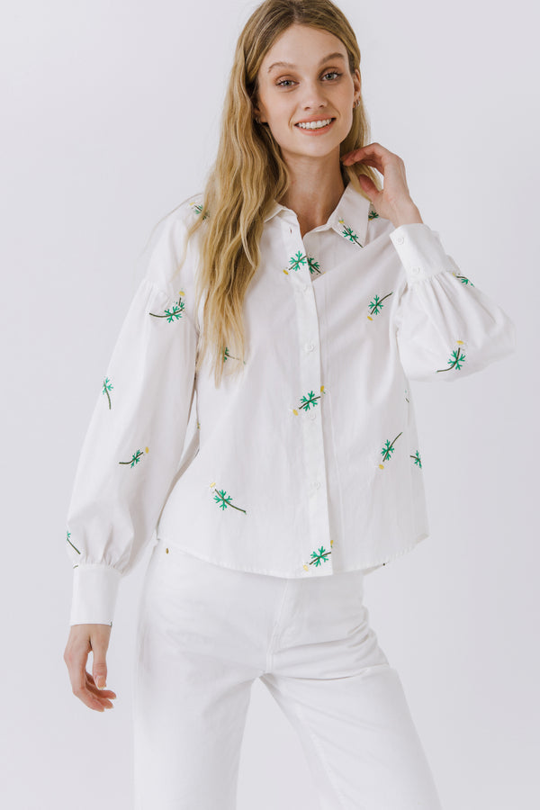 ENGLISH FACTORY-Embroidered Long Sleeve Shirt-SHIRTS & BLOUSES available at Objectrare