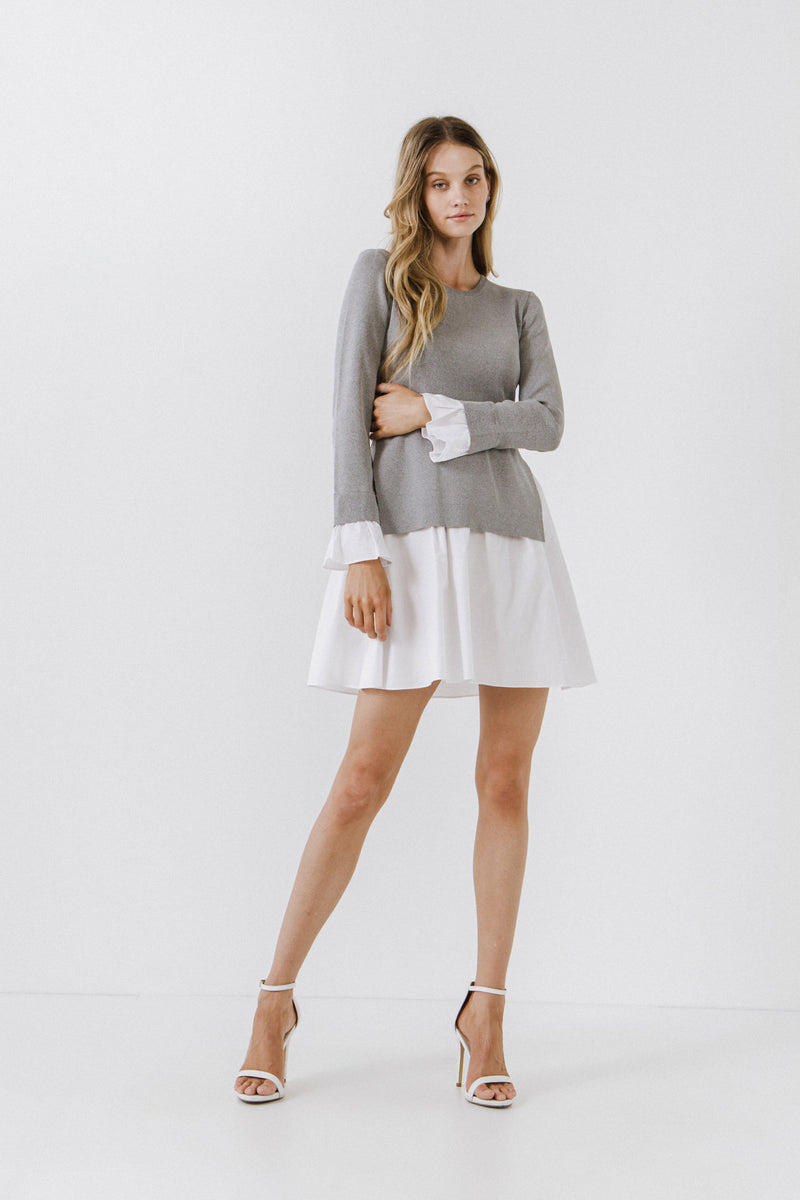 ENGLISH FACTORY-Poplin Combo Knit Dress-DRESSES available at Objectrare