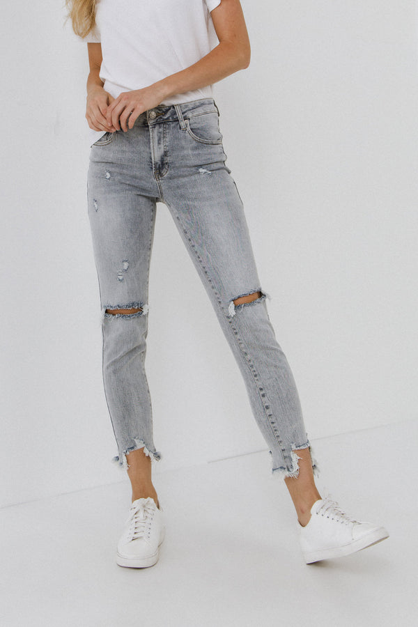 AFTER MARKET-Mid Rise Distressed Ankle Skinny Jeans-JEANS available at Objectrare