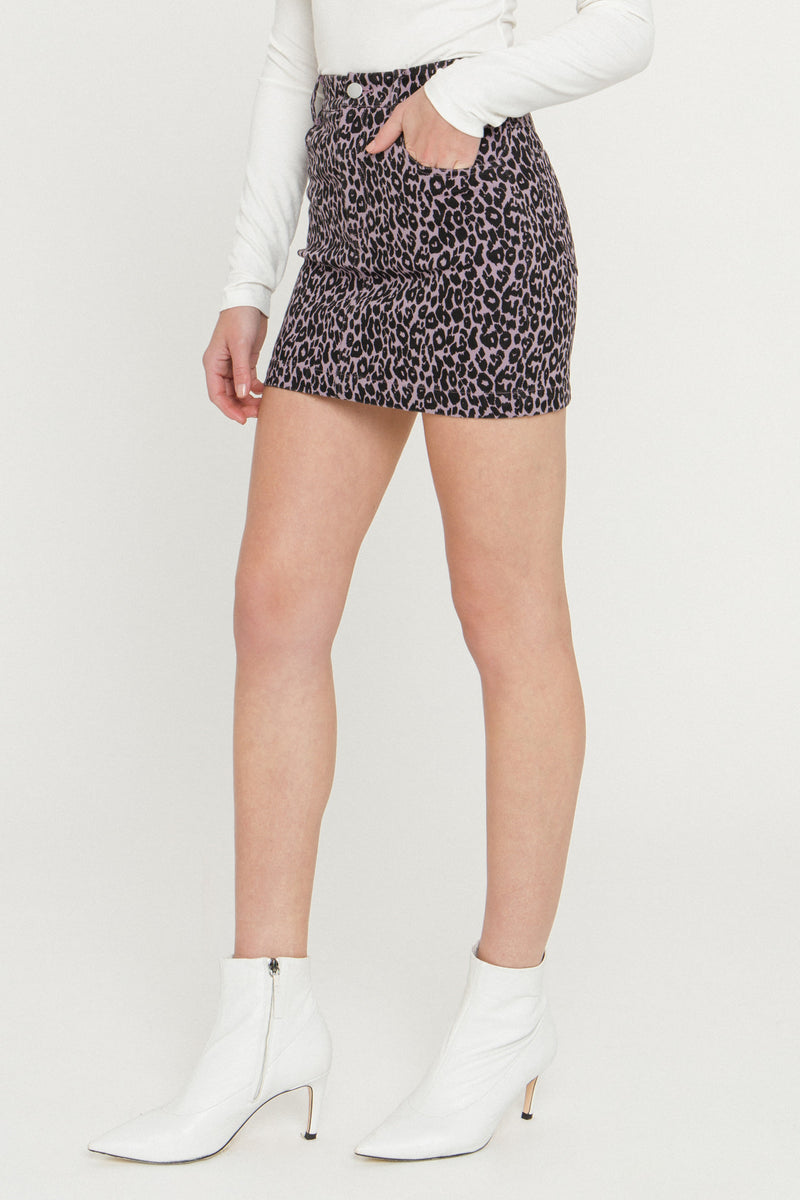 MARSY-Leopard Print Denim Skirt-SKIRTS available at Objectrare