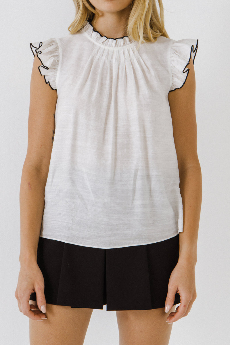 ENGLISH FACTORY-Contrast Stitch Sleeveless Top-TOPS available at Objectrare