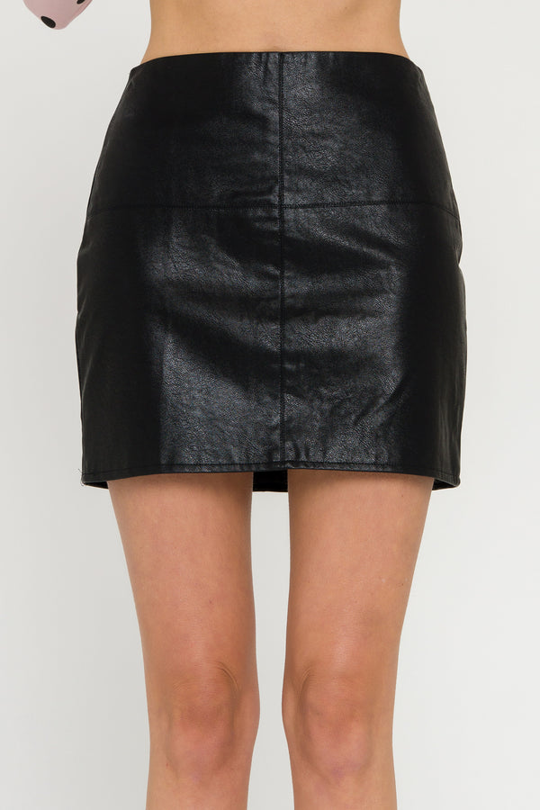 GREY LAB-Leather Mini Skirt-SKIRTS available at Objectrare