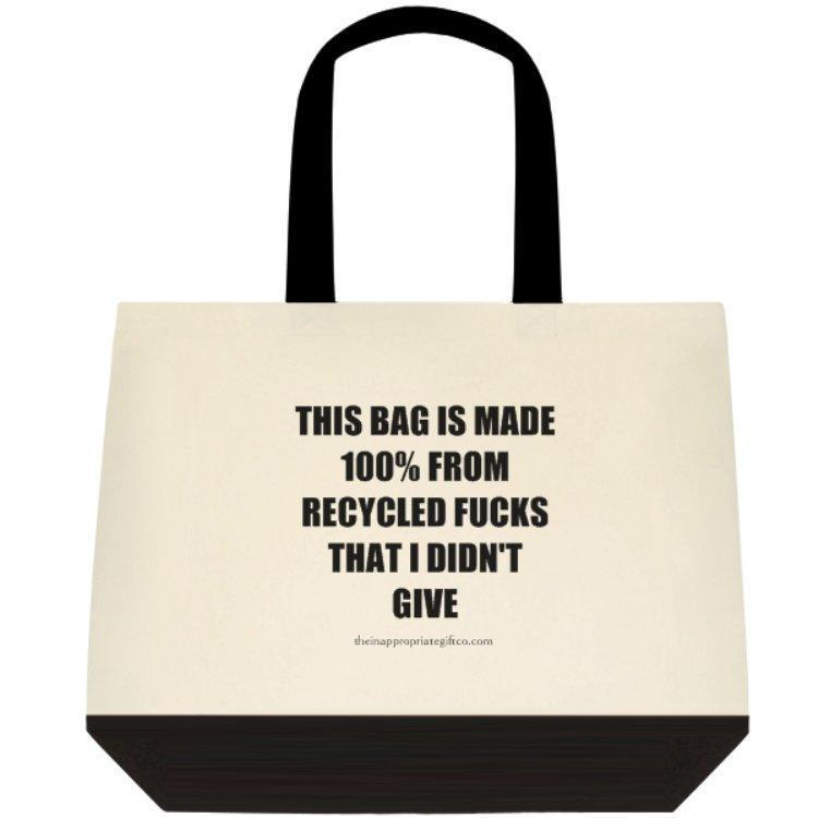 Recycled Fucks Deluxe Two Tone Tote Bag