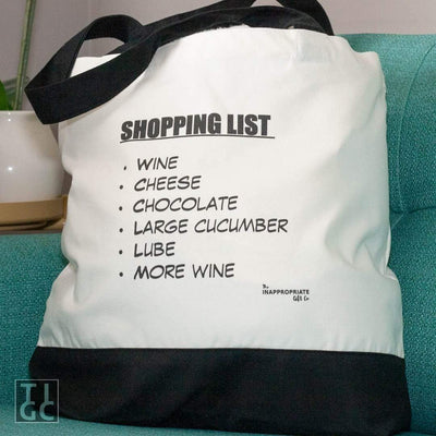Shopping List Cucumber and Lube Deluxe Grocery Shopping Tote Bag TIGC The Inappropriate Gift Co