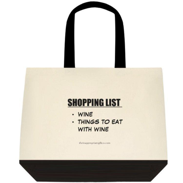 Shopping List- Wine And Things to Eat With Wine Deluxe Shopping Grocery Tote Bag TIGC The Inappropriate Gift Co