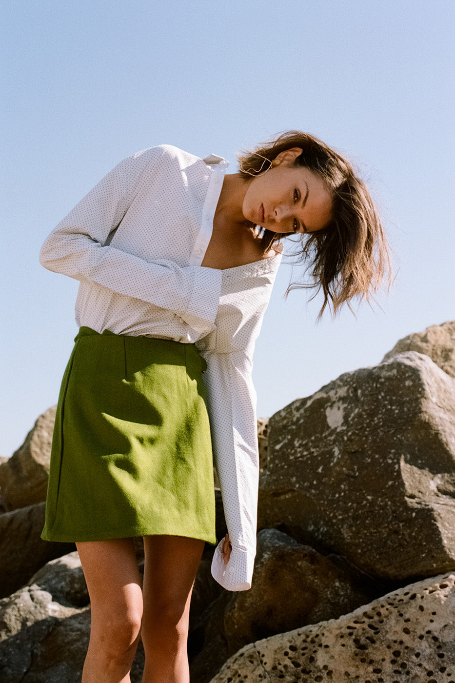 Hew clothing white shirt and green skirt