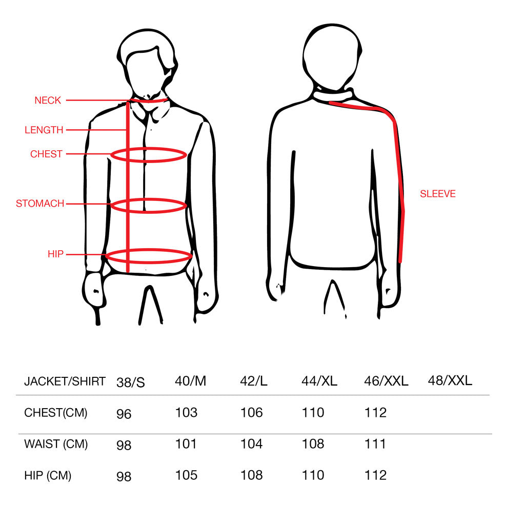 Men Shirt size chart
