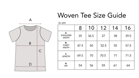 Woven Tee Size Guide