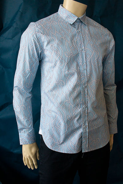 HEW Clothing Classic Slim Cut Shirt in Rope Blue Print