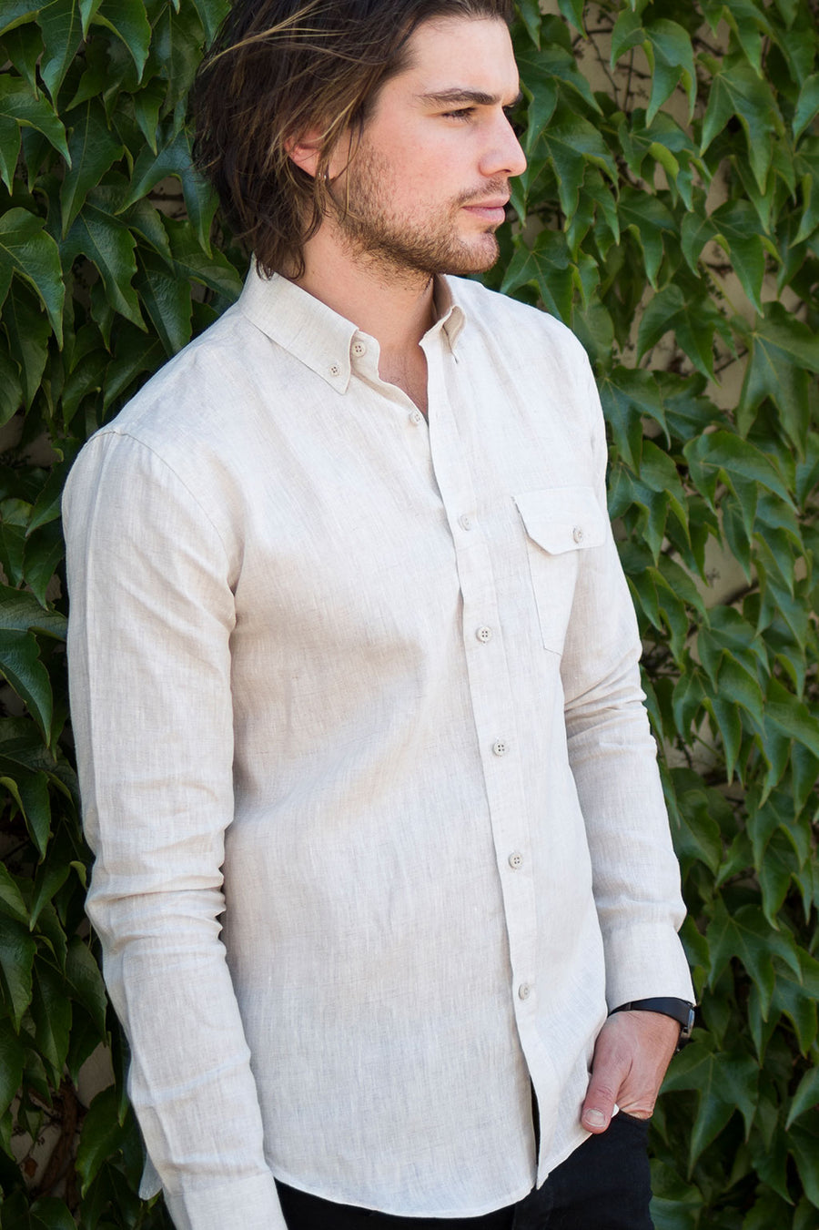 LONG SLEEVE OXFORD SHIRT IN NATURAL HEMP