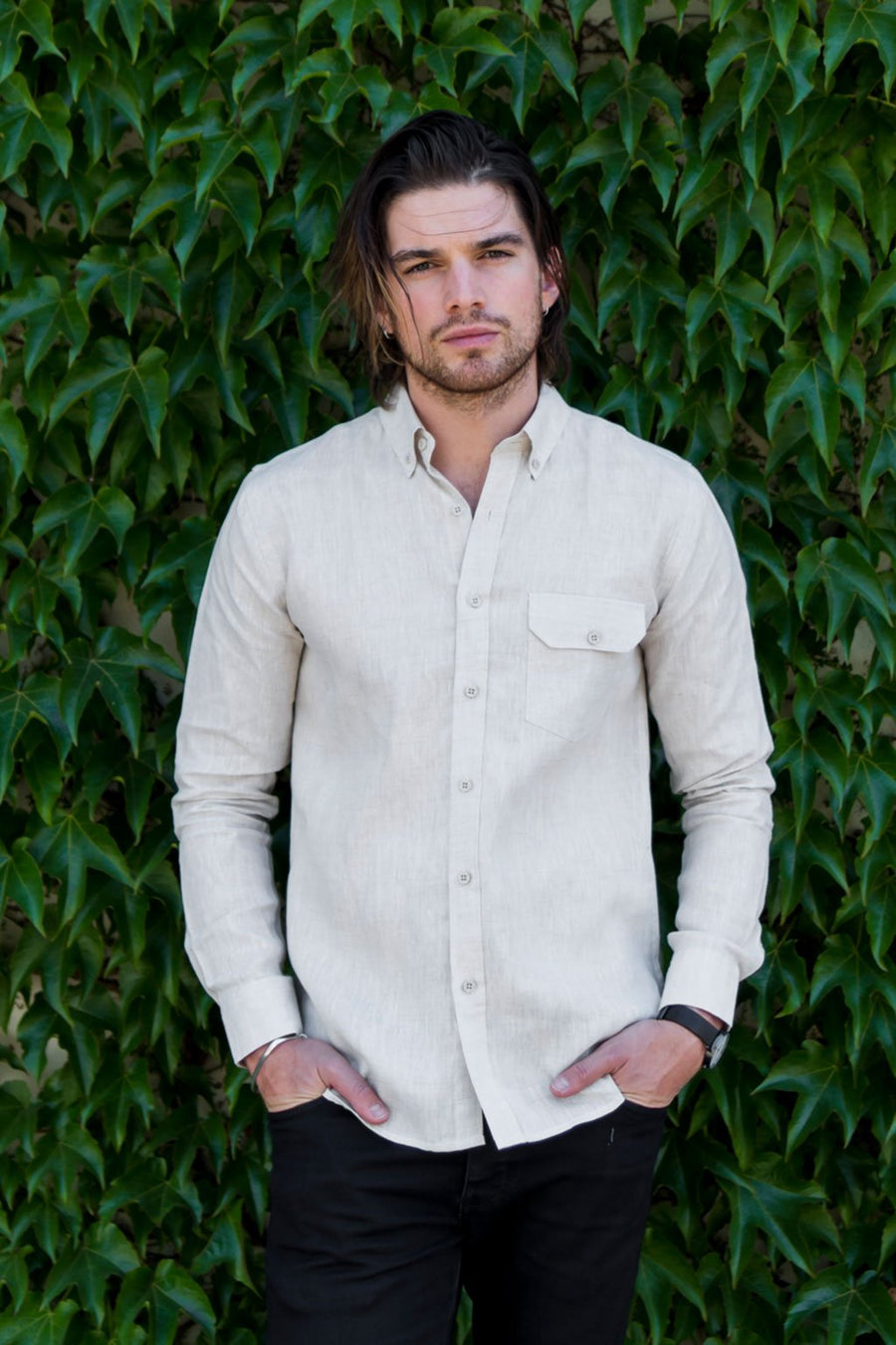 Sample of Long Sleeve Oxford Shirt in Natural Hemp
