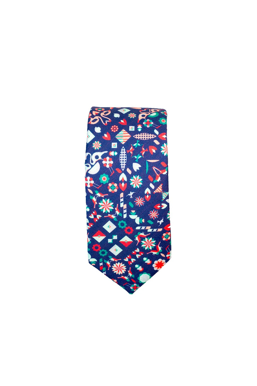 TIE IN BLUE BIRD PRINT