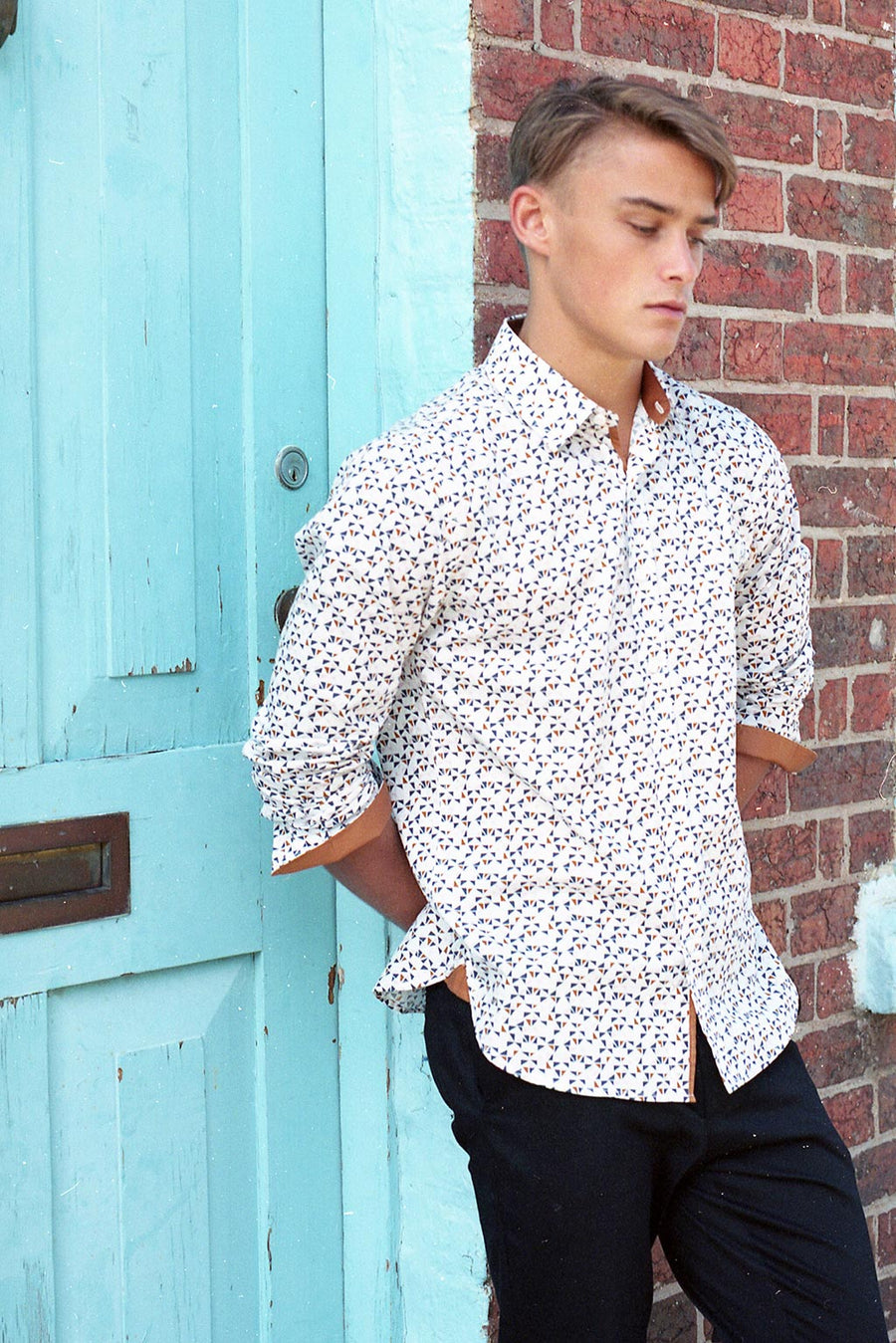 Mens Dress Shirt Oxford Shirt in Drake Print by HEW X RACHEL