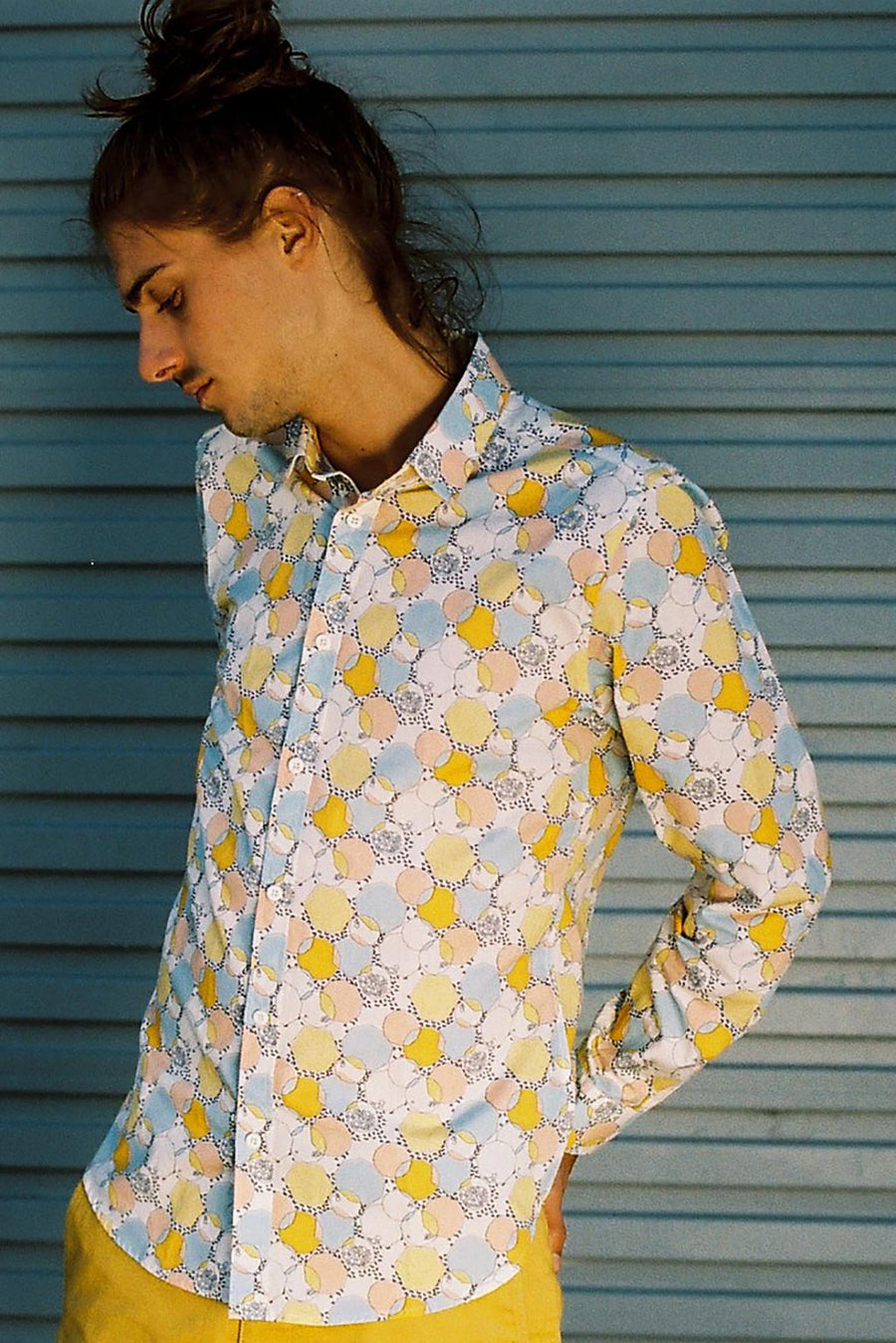 Yellow Mustard Pale Blue Festival Dress Shirt Mens