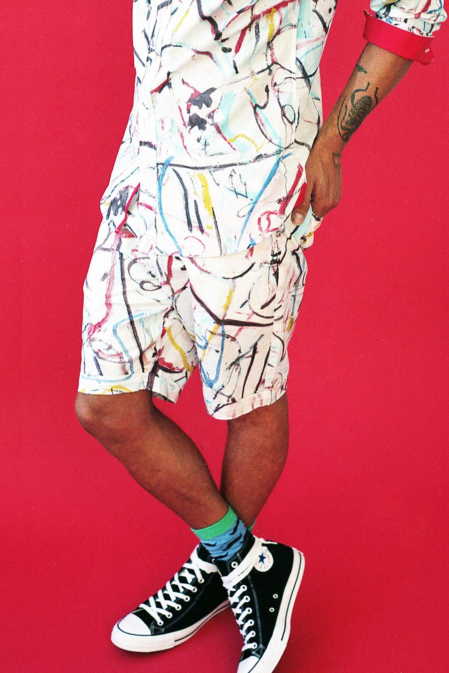 HEW clothing Mens Chino Shorts in Multi Print