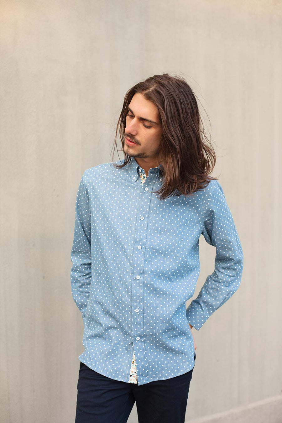 Sample of Relaxed Oxford Shirt in Chambray Dot Print