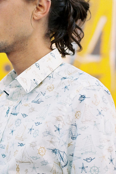 HEW Clothing Classic Slim Cut Shirt in White Boat Print