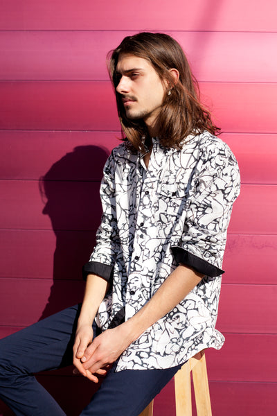 HEW RELAXED OXFORD SHIRT IN BLACK & WHITE PRINT (CANVAS)