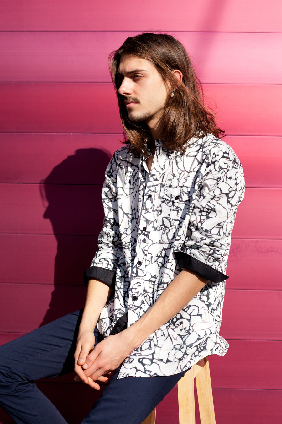 HEW X AUGUSTUS RELAXED OXFORD SHIRT IN BLACK & WHITE PRINT (CANVAS)