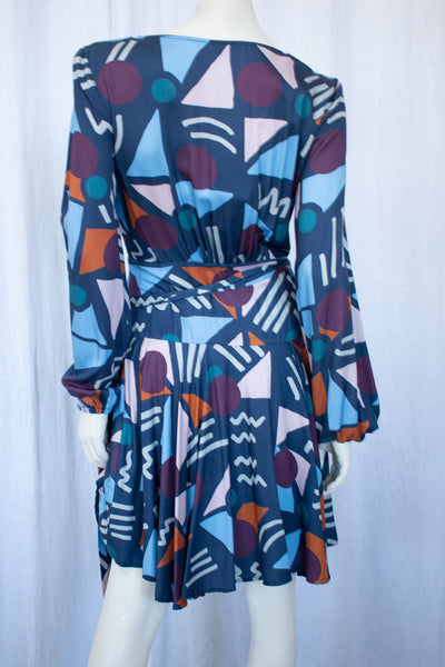 Women's LS Print Wrap Dress