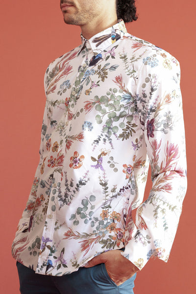 HEW Mens Oxford Shirt in Floral Cream